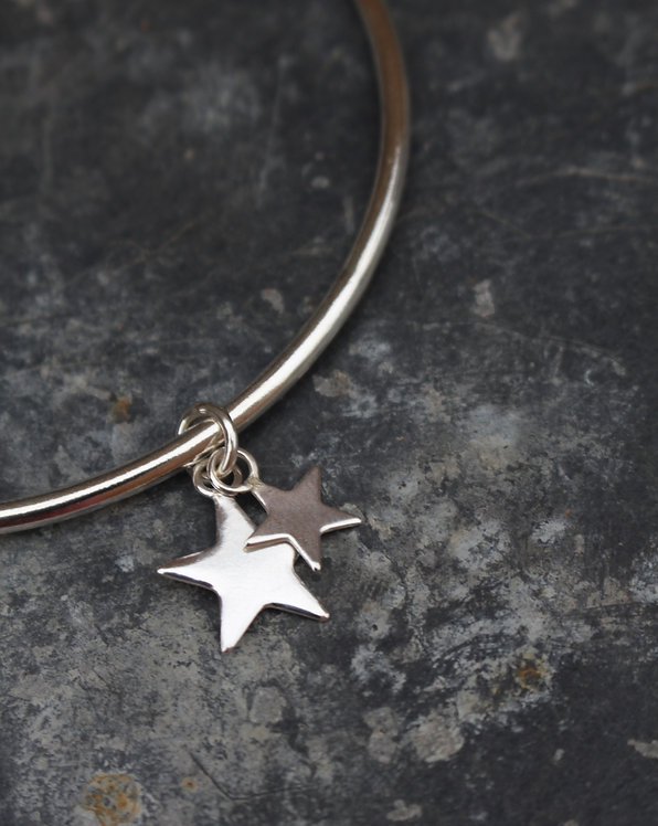 Silver Double Star Charm Bangle