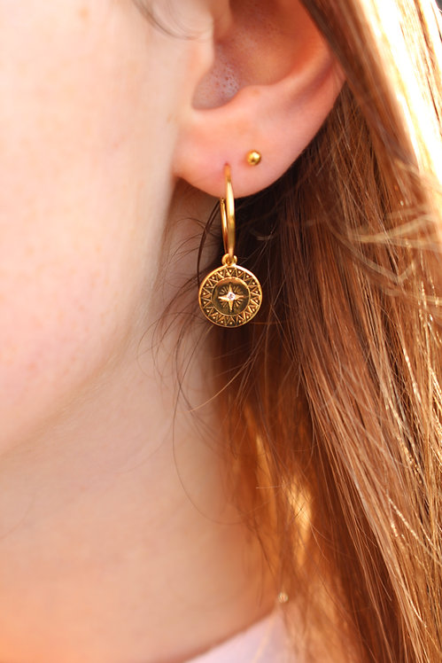 Stone Set Compass Hoop Earrings