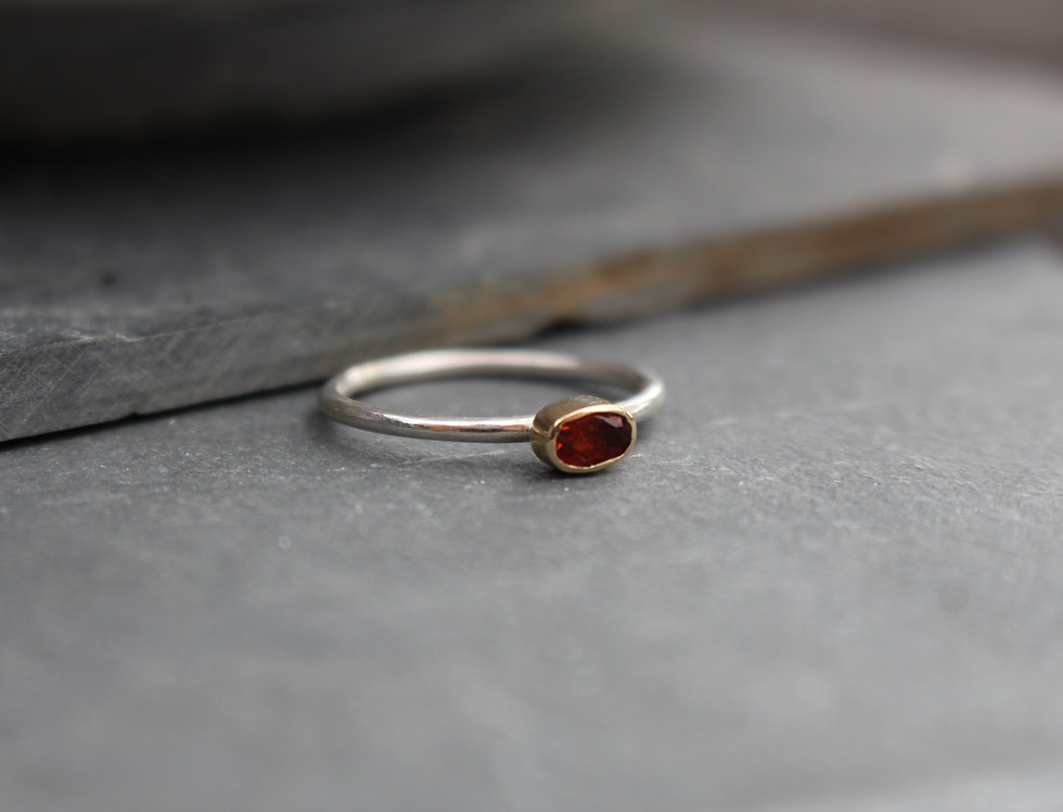 Silver & Gold Oval Fireopal Ring