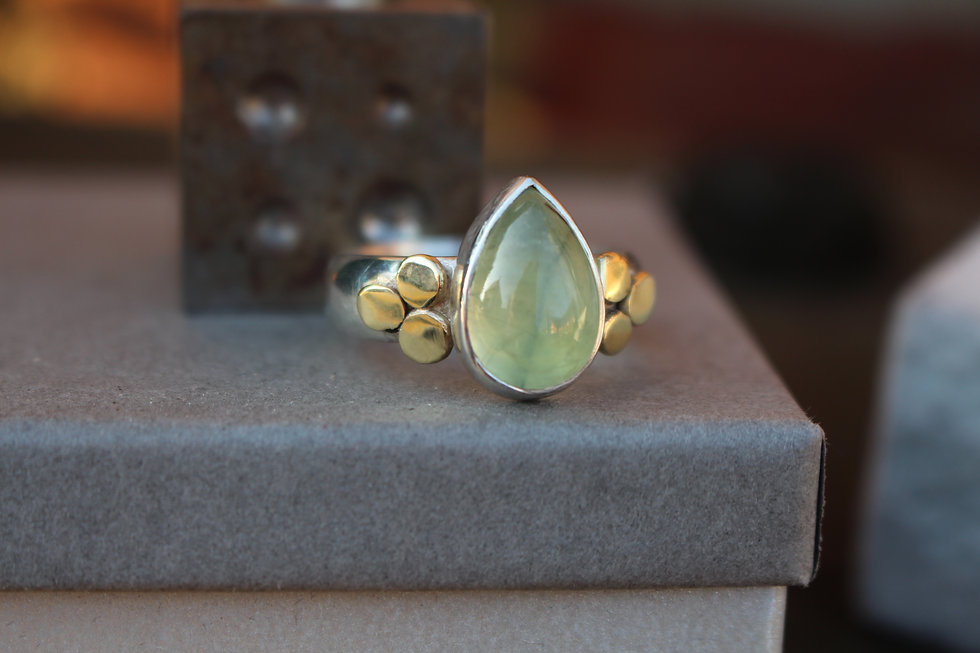 Silver & Gold Perhinite Pearshape  Ring