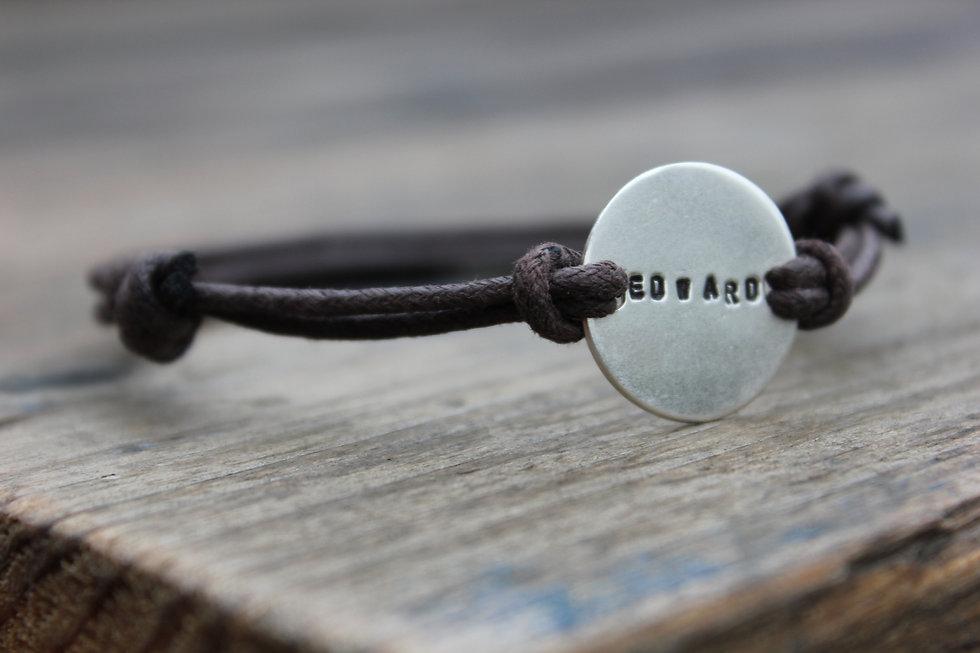 Handstamped Silver Name Bracelet
