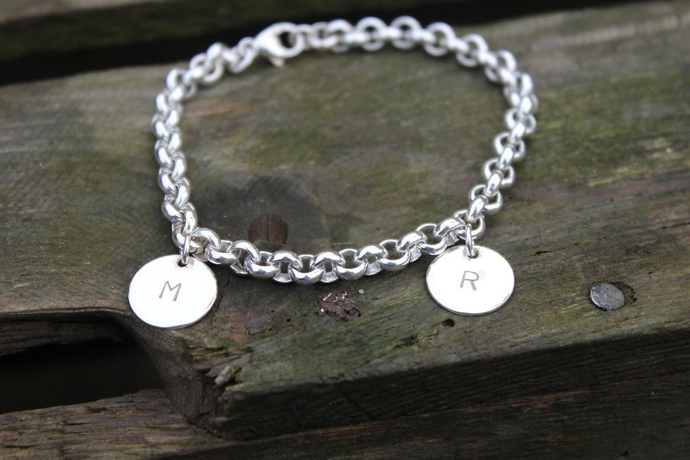 Silver Personalised Letter Charm Bracelet