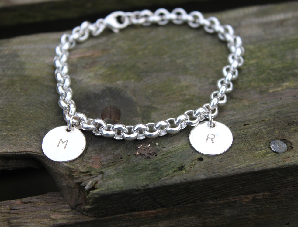 Silver Personalised Letter Charm Bracelet