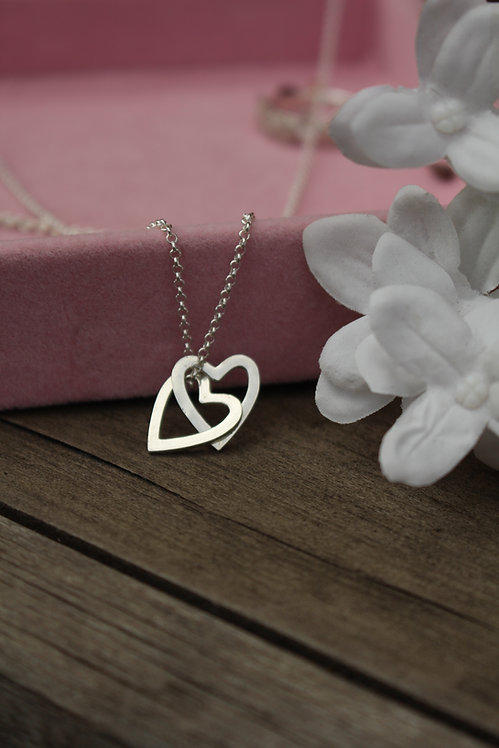 Silver Falling Hearts Necklace