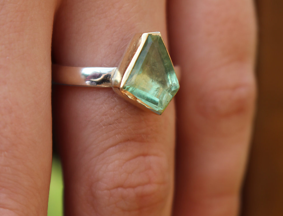 Silver & Gold One Off Tourmaline Ring
