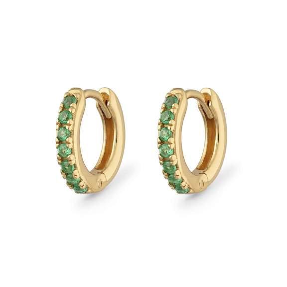 Emerald Green Set Tiny Huggie Hoops