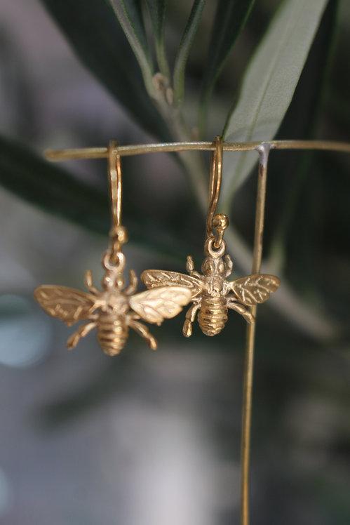 Gold Wasp Drop Earrings