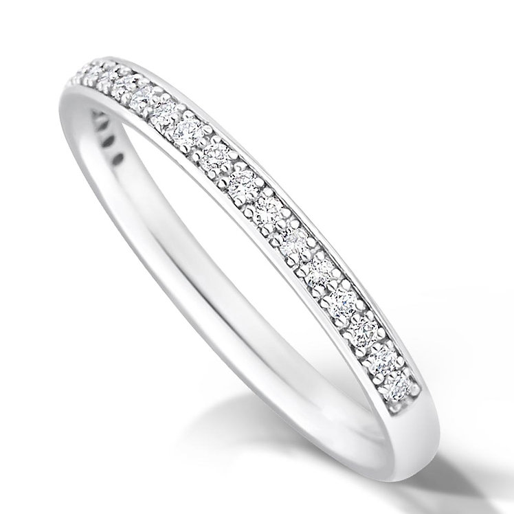 Thin Half Pave Set Diamond Ring