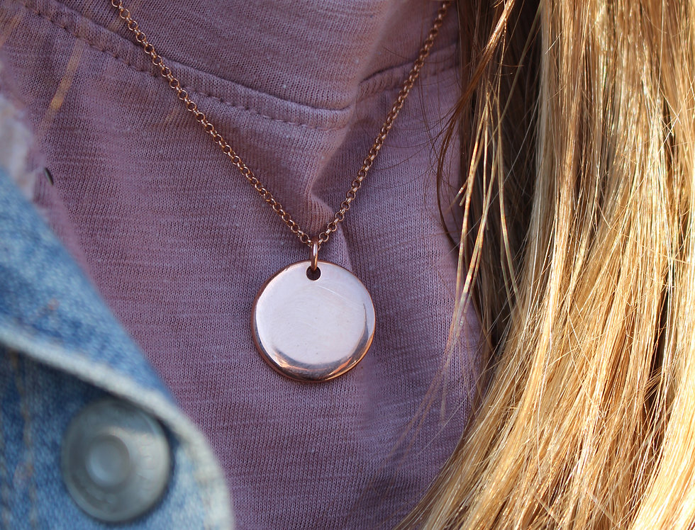 Simple Rose Gold Disc Necklace