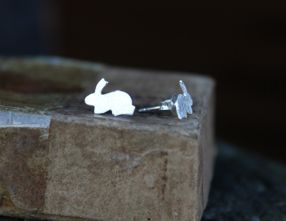 Silver Bunny Rabbit Studs