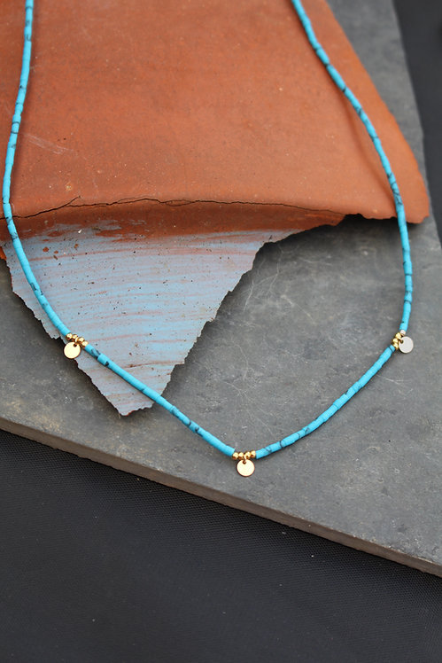 Turquoise Sequin Bead Necklace