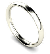 18ct White Gold 2mm Traditional Court Wedding Band