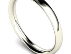 9ct White Gold 2mm Traditional Court Wedding Band