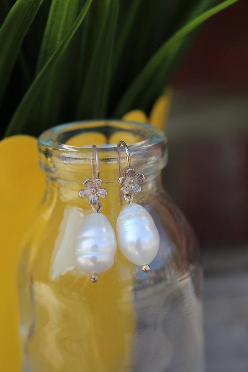 Silver Blossom Pearl Drop Earrings