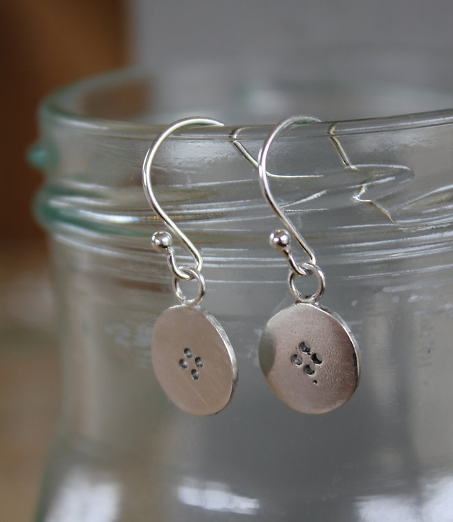 Silver Button Drop Earrings