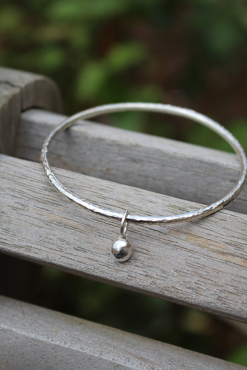 Silver Bobble Charm Bangle