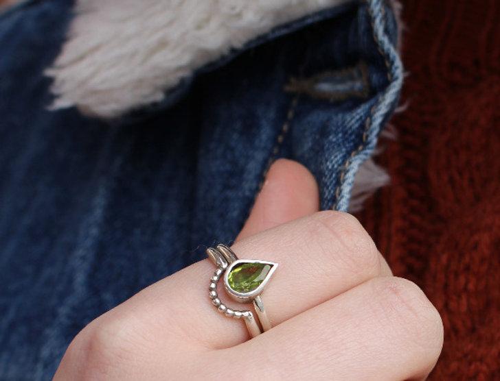 Silver Pear Peridot Ring Set