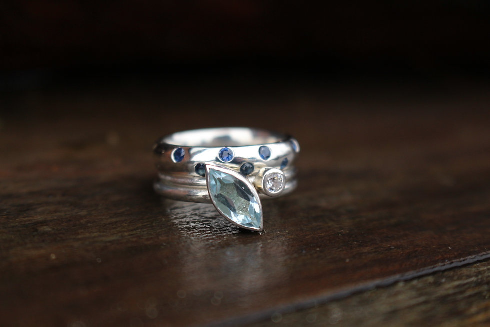 Silver Marquise Blue Topaz Ring