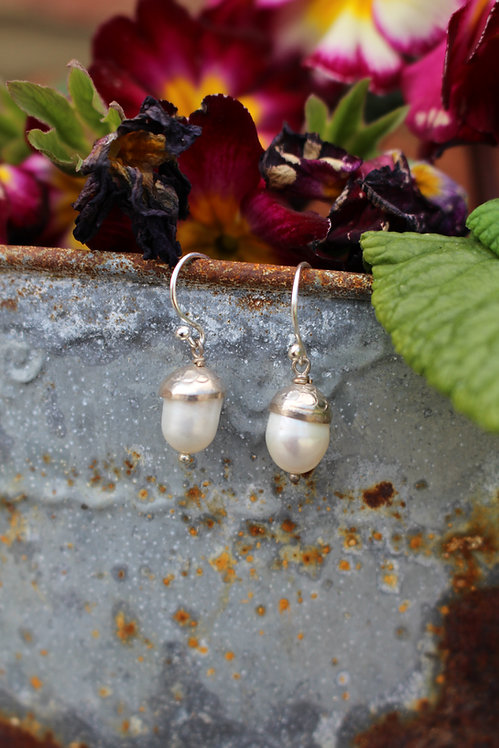 Silver Freshwater Pearl Acorn Drops