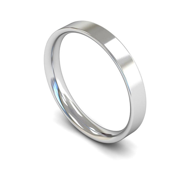 Platinum 3mm Flat Court Wedding Band