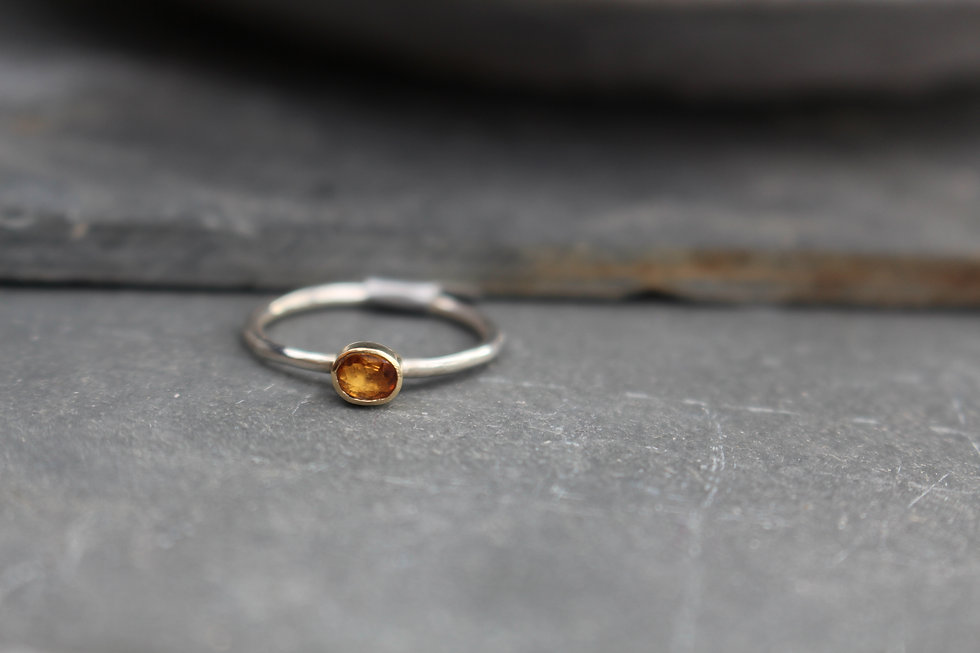 Silver & Gold Citirine Oval Ring