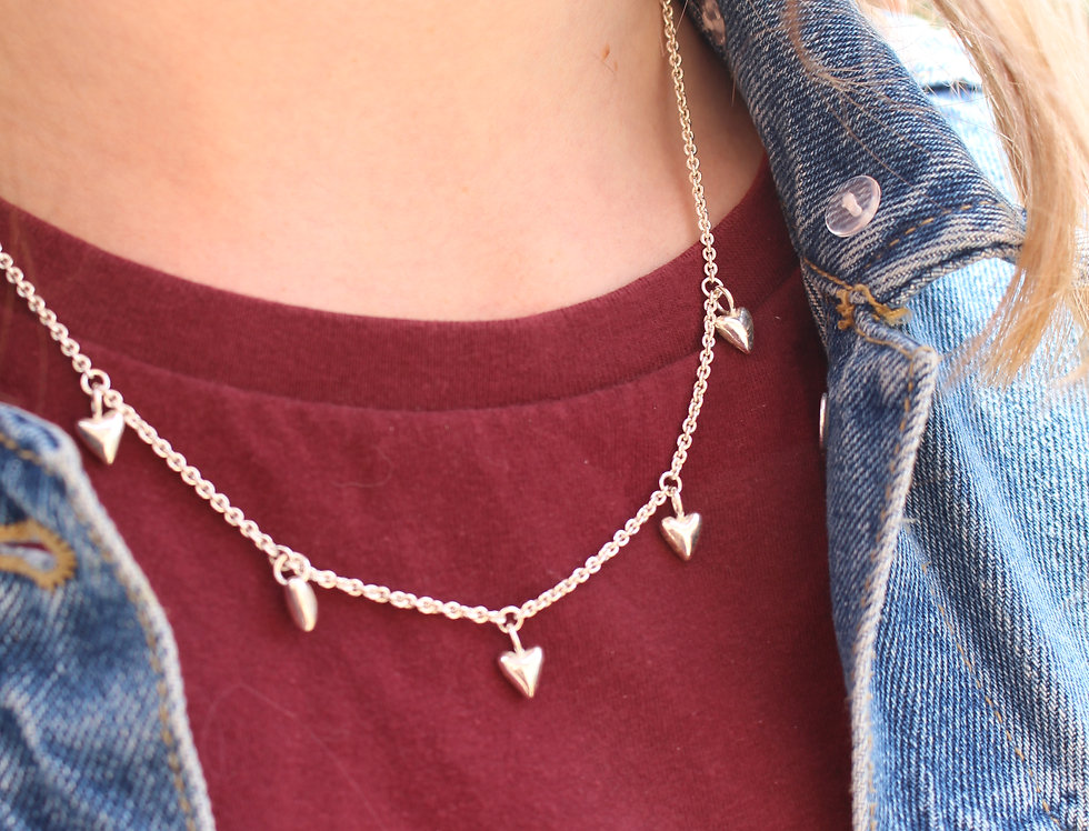 Silver Fat Tiny Heart Droplet Necklace