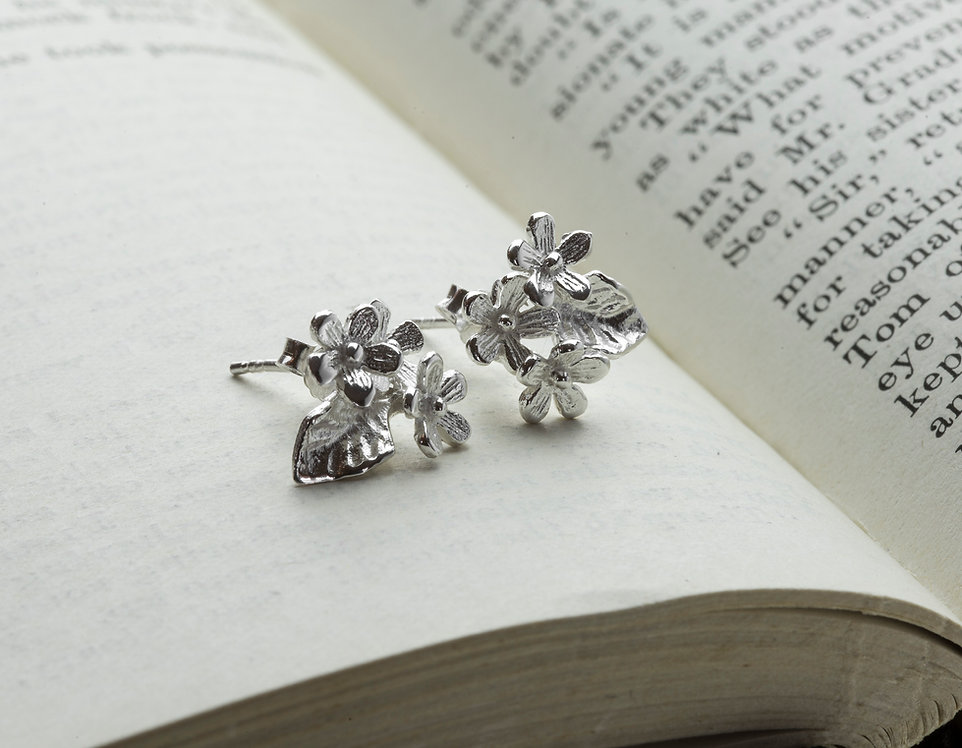 Silver Flower Cluster Stud Earrings