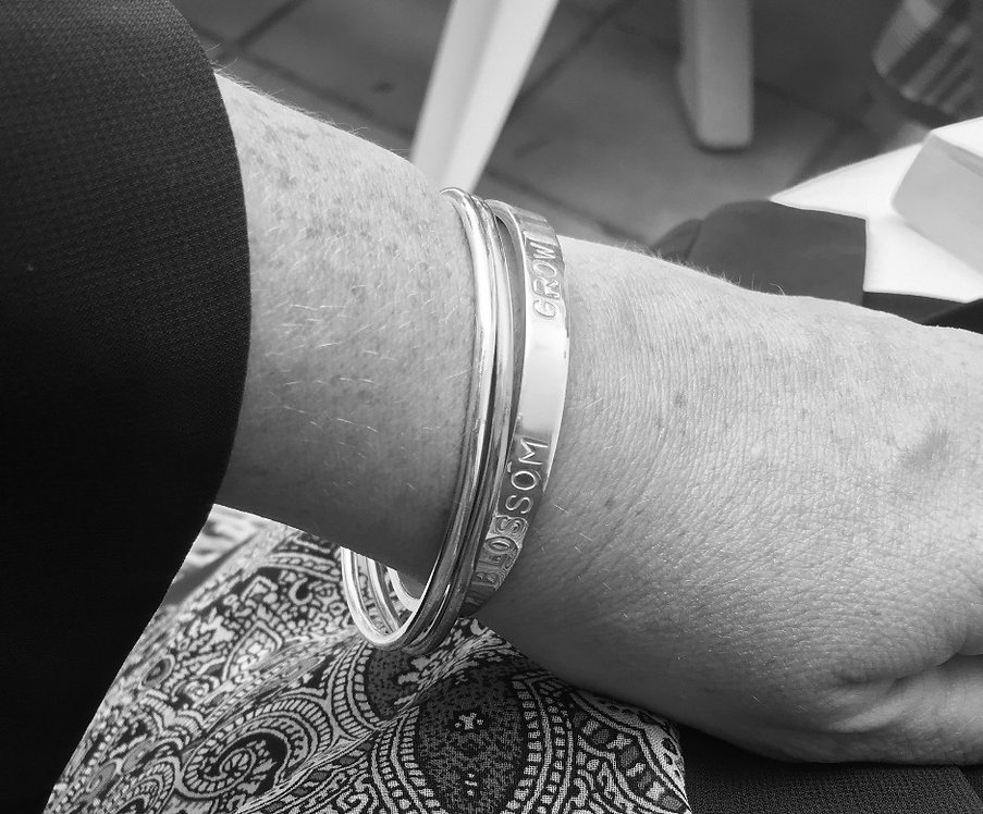 Silver Quote Open Bangle Ladies