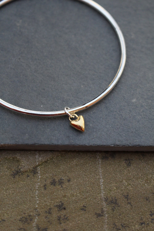 Silver & Gold Tiny Heart Charm Bangle