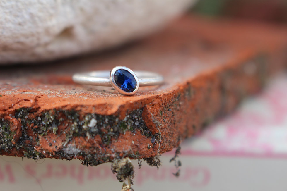 Silver Sapphire Oval Ring