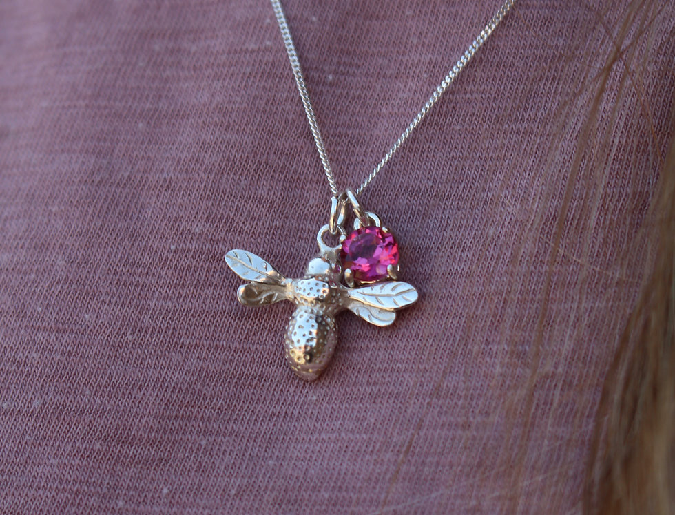Silver Bee & Birthstone Pendant