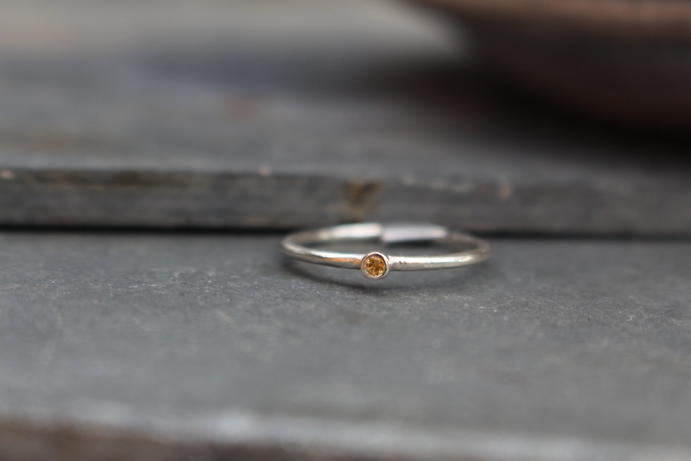 Silver Tiny Yellow Stone Ring