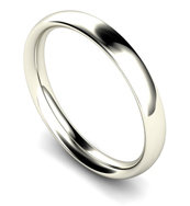 18ct White Gold 2.5mm Traditional Court Wedding Band