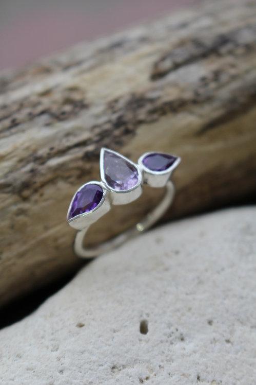 Silver Amethyst 3 Stone Pear Ring