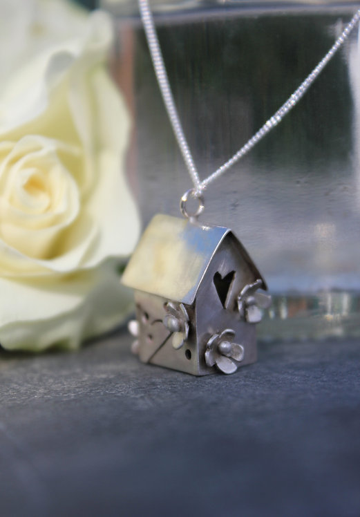 Silver Birdhouse Pendant