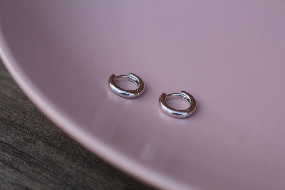 Silver Tiny Huggie Hoops