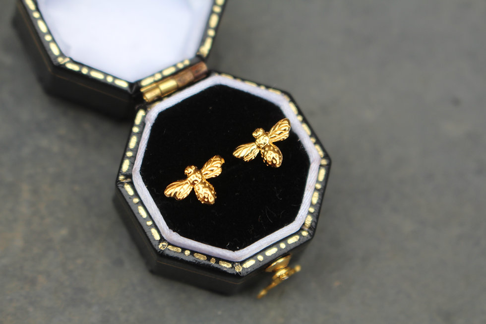 Yellow Gold Tiny Bee Studs
