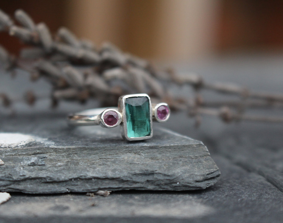 Silver Tourmaline 3 Stone Ring