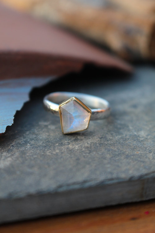 Silver & Gold Moonstone Endless Summer Ring