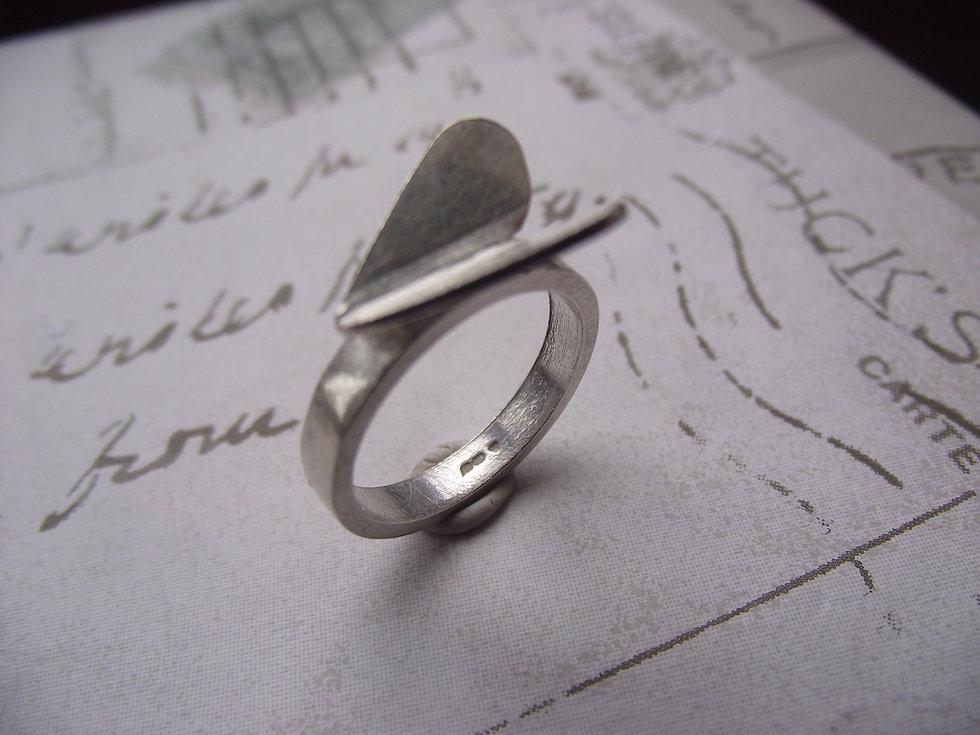 Silver Folding Heart Ring