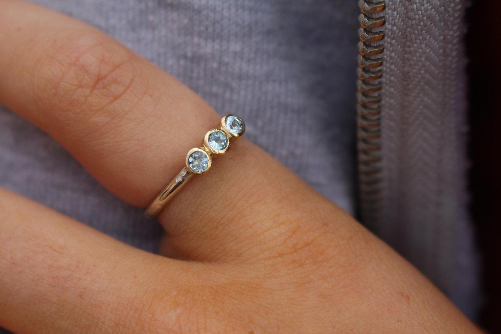 Tiny Aquamarine 3 Stone Ring