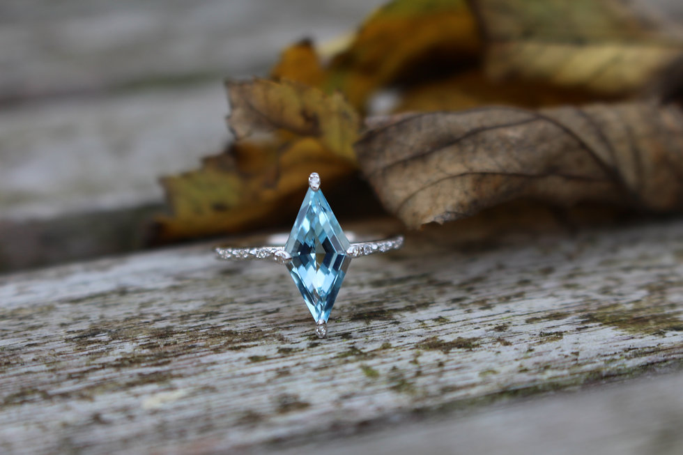 Blue Topaz & Diamond Kite Ring