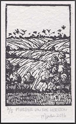 MURDER ON THE HORIZON  Lino print