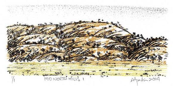 Mid North Hills 1   Monoprint