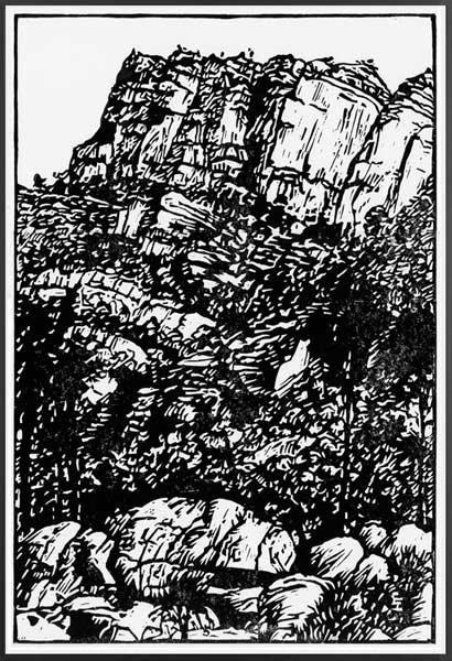 ARKAROO ROCK WALK   Lino print