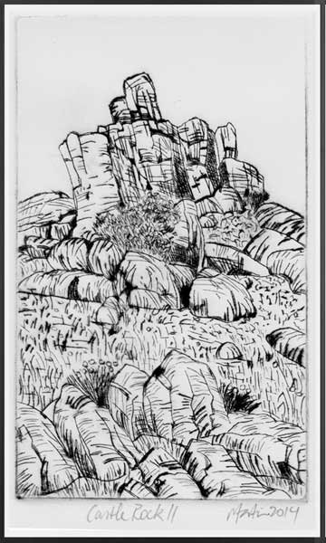 CASTLE ROCK 2   Drypoint etching