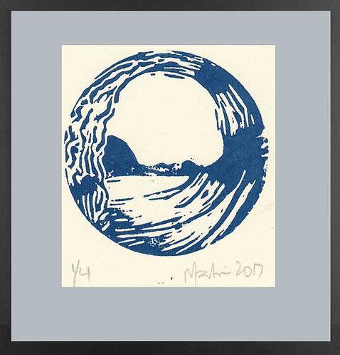 BLUE TUBE. Block Print