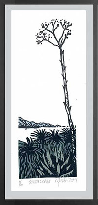 SOUTH COAST  Lino print