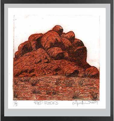 RED ROCKS Etching and collograph