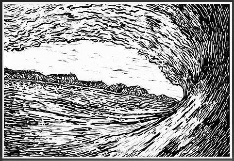 WAVE BREAK  Lino print